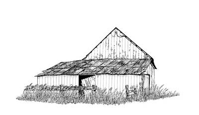 Old Barn Pen And Ink Paintings Posters