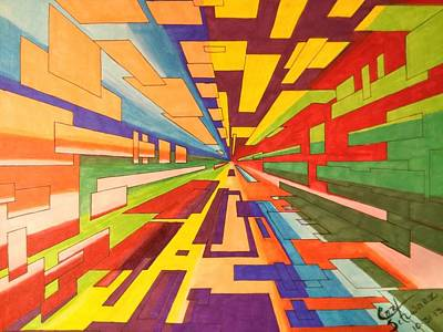 One Point Perspective Mixed Media Posters