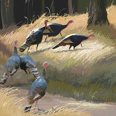 Wild Turkey Digital Art Posters