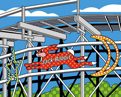 Roller Coaster Digital Art Posters
