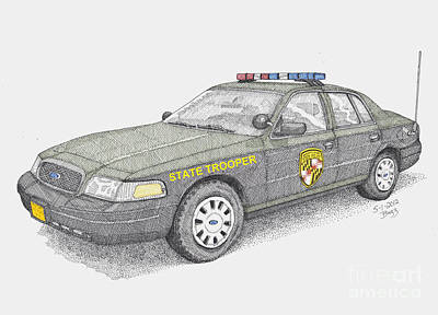 Police Cruiser Drawings Posters
