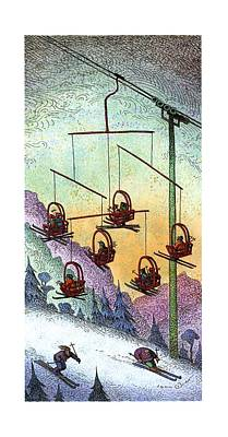 Chair Lift Drawings Posters