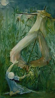 Scarecrow Farm Girl Corn Moon Posters