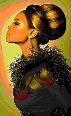 Hair Bun Digital Art Posters