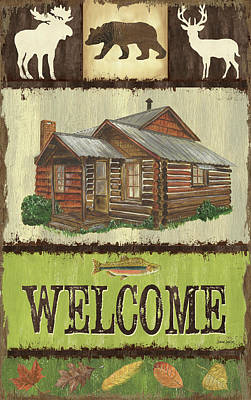 Log Cabins Mixed Media Posters