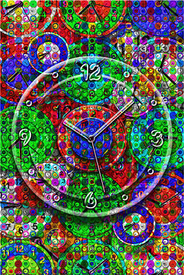 Large Clock Mixed Media Posters