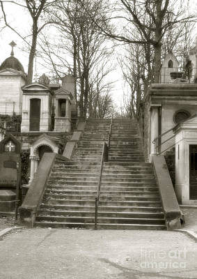 Sepia Paris Art Cemetery Stairs Posters
