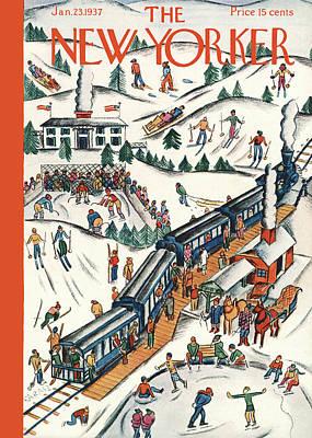 Snow Hockey Paintings Posters