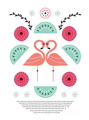 Flamingo Digital Art Posters