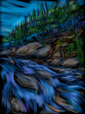 Water Flowing Mixed Media Posters