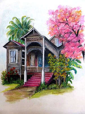 Wooden House Poui Tree Posters