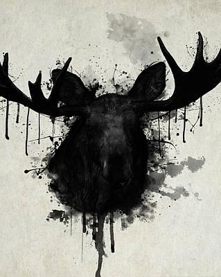 Bull Elk Digital Art Posters