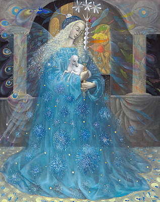 Spiritual Portrait Of Woman Drawings Posters