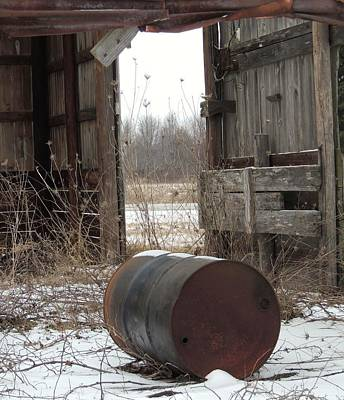 Barn And Rusted Barrel Posters