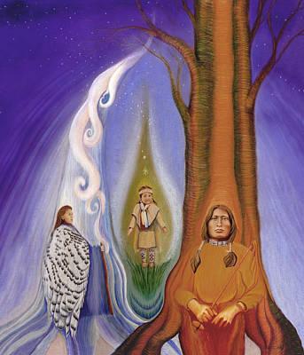 Native American Spirit Portrait Drawings Posters