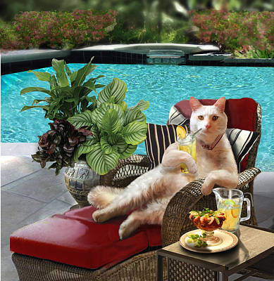 White Cat In Lounging Chair Having A Drink Posters