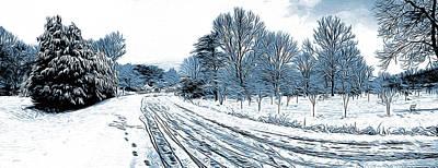 Winter Roads Digital Art Posters
