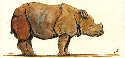 One Horned Rhino Paintings Posters