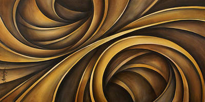 Earth Tones Brown Ribbon Abstract Flowing Motion Posters
