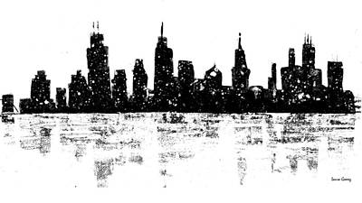 Chicago Black White Drawings Posters