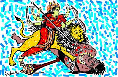 Goddess Durga Digital Art Posters