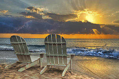 Adirondack Chairs On The Beach Posters