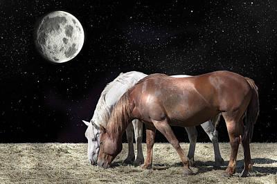 Grazing Horse Digital Art Posters