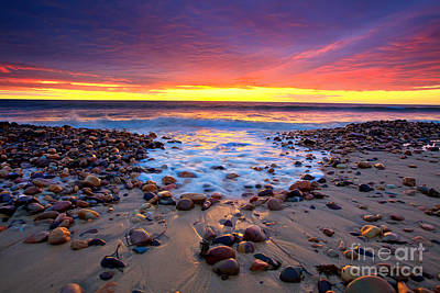 Sunset Pebbles Stones Beach Seascape Seascapes Karrara Hallett Cove Posters