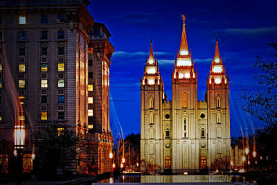 Salt Lake Temple Flowers Light Trails Heavenly Light Posters