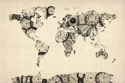 Antique Map Digital Art Posters