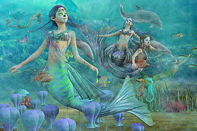 Angel Mermaids Ocean Digital Art Posters