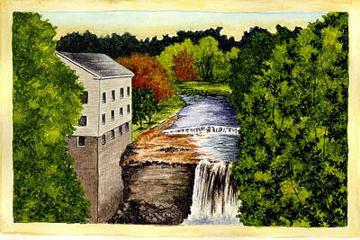 Old Mill Drawing Posters