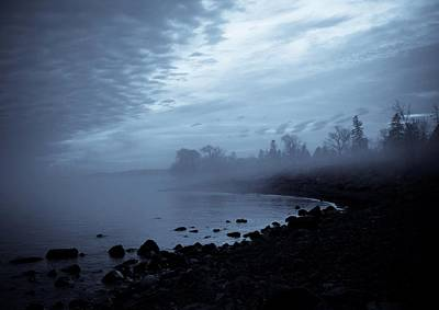 Fog Beach Landscape Clouds Water Brighton Beach Duluth Lake Superior Lake Posters
