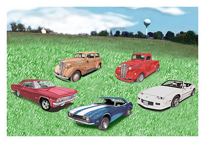 Collector Cars Mixed Media Posters