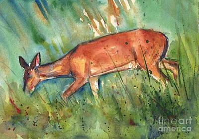 Deer On Beach Posters