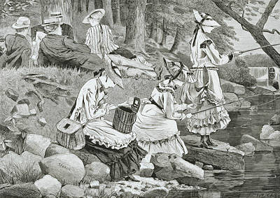 Woman Fishing Posters