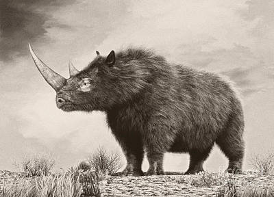 One Horned Rhino Digital Art Posters