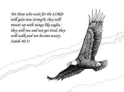 Scripture With Eagle In Flight Posters