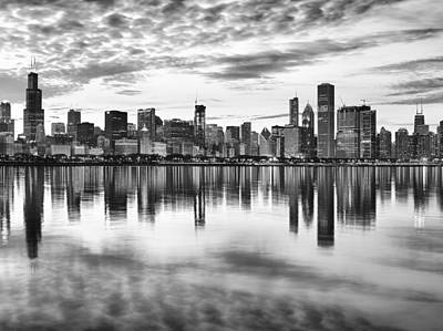Chicago Skyline Black White Posters