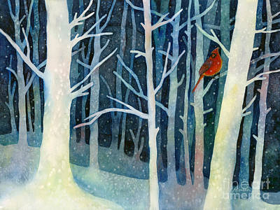 Male Cardinals In Snow Posters