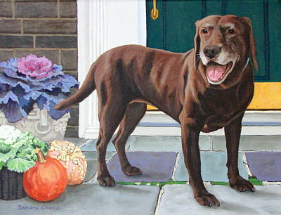 Dog At Door Paintings Posters