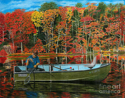 Autumn Leaf On Water Drawings Posters