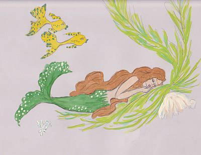 Sleeping Mermaid Drawings Posters