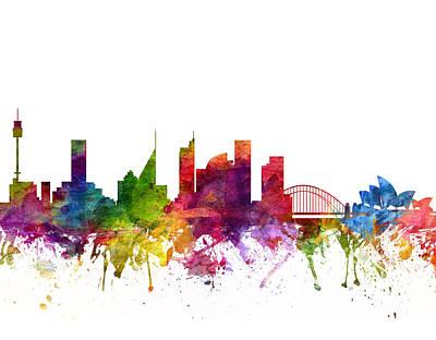 Sydney Skyline Drawings Posters