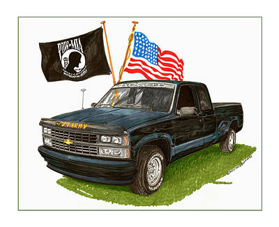 Art Work Of Chevy Pick Up Trucks Posters