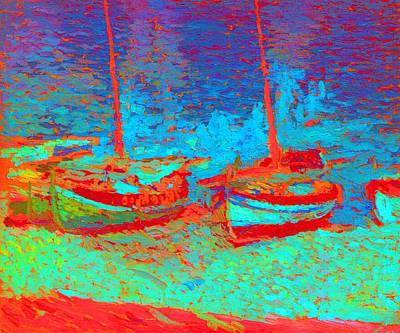 Sailboats In Water Mixed Media Posters