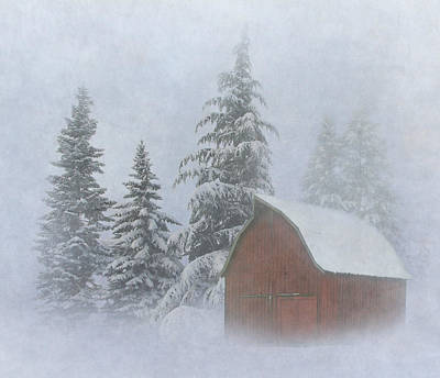 Red Barn In Winter Posters