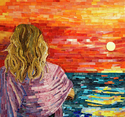 Mosaic Glass Portrait Mixed Media Posters
