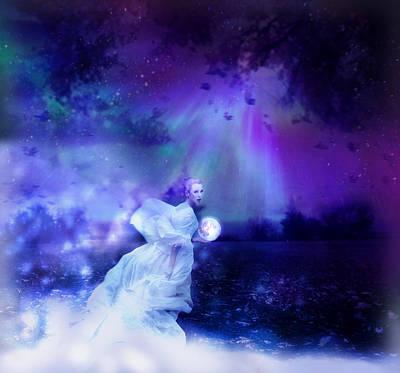 Moon Fairies Blue Snow Woman Mixed Media Posters
