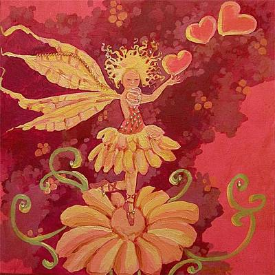 Fairy Hearts Pink Flower Drawings Posters